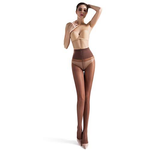 LOVETEA Bikini bragas pantimedias sedosos medias pantimedias para mujeres encaje Panty pantimedias encaje pura Control Top medias soporte pantimedias formar medias (Café)