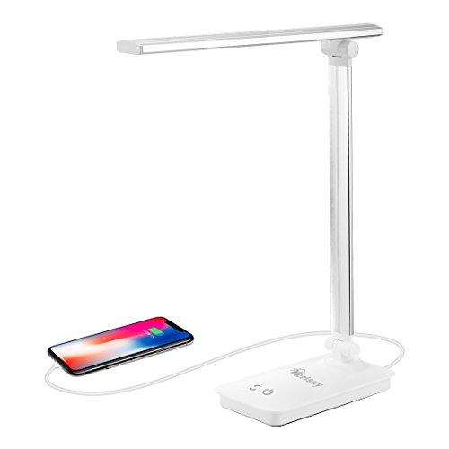 Merisny Licht LED Schreibtischleuchte 5W Schreibtischleuchte led Tageslichtlampe Augenschutz 3 Helligkeitsstufen Lampenarm einstellbar mit USB-Anschluss und 5 Farbtemperaturen