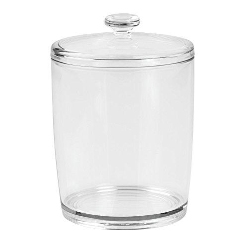 InterDesign-Barattolo per bagno, in plastica, con coperchio