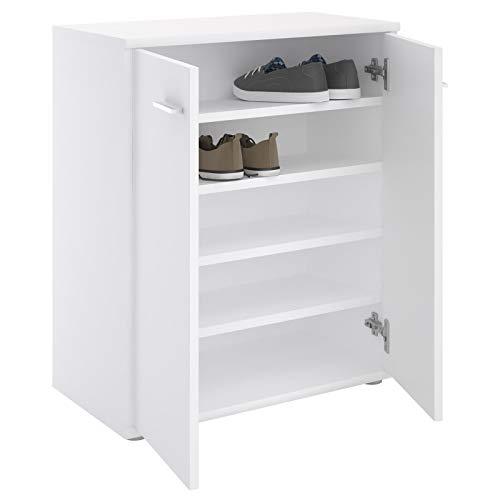 IDIMEX Meuble à Chaussures Olympe, Commode Meuble de Rangement avec 2 Portes avec 4 tablettes intérieures, en mélaminé Blanc Mat