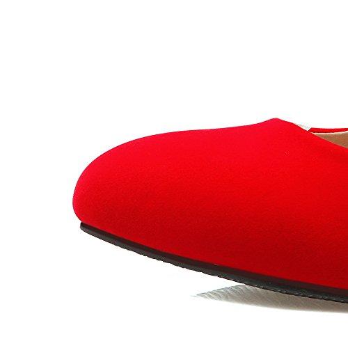AllhqFashion Damen Rund Zehe Mittler Absatz Mattglasbirne Rein Schnalle Pumps Schuhe Rot