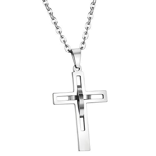 Cupimatch Edelstahl Kreuz Anhänger Halskette, Herren Religiöse durchbrochen Silber Hohl Kreuz Anhänger 55,9cm Kette (Polish Vintage High)