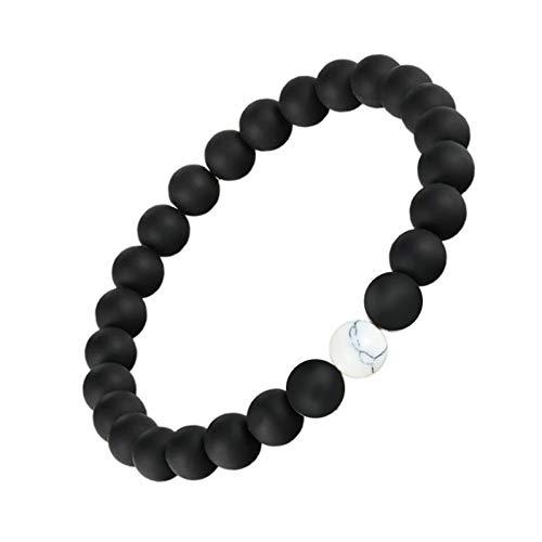 DUOJINZ 2 Teile/Satz Abstand Armband Pierre Naturelle Yin Yang Perlen Armbänder Für Frauen Männer Paare Valentinstag Schmuck Geschenk Pulseras