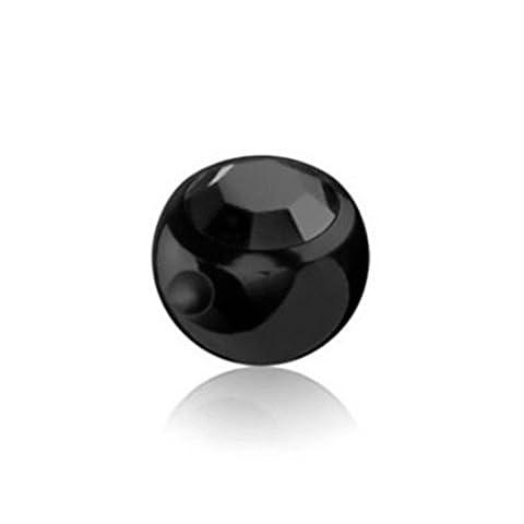 6 mm - LR - Light Rose/ Hell Rosa - - Black Steel - Klemmkugel - mit Kristall (Piercing Kugel Aufsatz für Stäbe, Labrets etc.)
