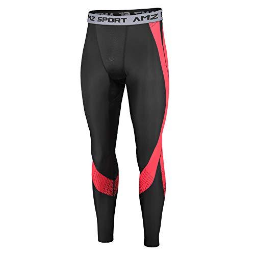 AMZSPORT Pantaloni Compressione Termica da Uomo Collant Base Layer Leggins da Corsa Invernali, Nero Rosso S
