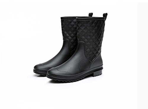 Adulte Anti-dérapant Chaussures en caoutchouc Mode Garder au chaud Bottes de pluie Black