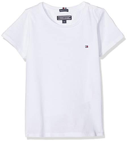 Tommy Hilfiger Mädchen Girls Basic Cn Knit S/S T-Shirt, Weiß (Bright White 123), 128 (Herstellergröße: 8)