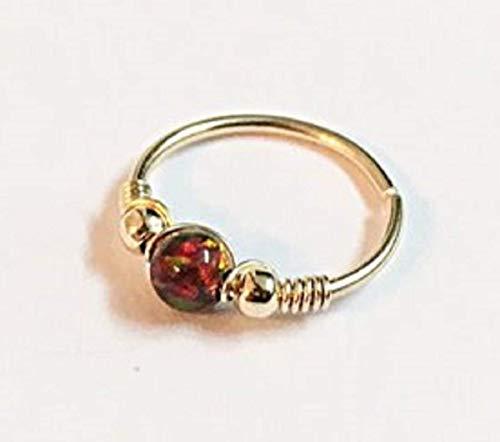 FloweRainboW 750 Gelbgold Piercing Ring Tragus Helix Ohrring Opal Nasenring Septum