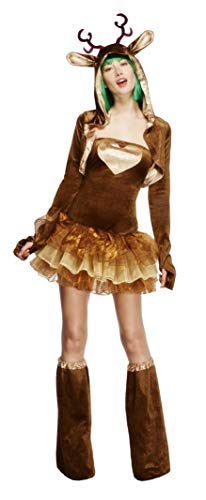 Fever, Damen Rentier Kostüm, Tutu-Kleid mit abnehmbaren Trägern, Jacke und Überstiefel, Größe: S, 33868