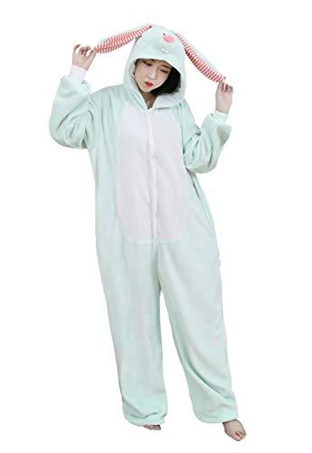 URVIP Neu Unisex Adult Pyjama Cosplay Tier Onesie Body Nachtwäsche Kleid Overall Animal Sleepwear Schlafanzug mit Kapuze Erwachsene Cosplay Kostüm Grün-Häschen - Mädchen Für Erwachsenen Theater Kostüm