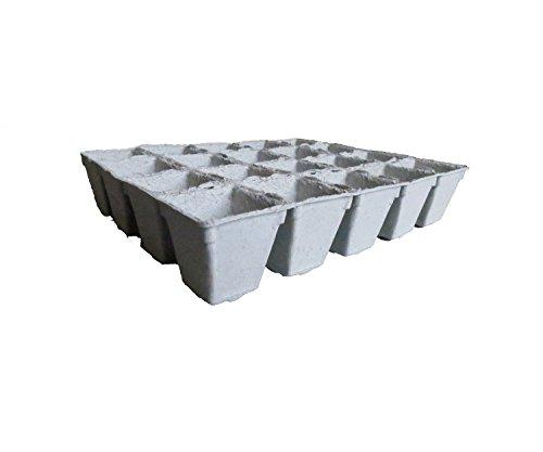 Pflanztöpfe kompostierbar, quadratisch, 0,1 Liter, 500 Einzeltöpfchen (Preis je Töpfchen: 0,09 Euro), 25 Anzuchtplatten 4 x 5 bestehend aus je 20 Einzeltöpfchen, (Abmessungen Einzeltöpfchen: Höhe ca. 70 mm/ Außenmaße oben ca. 70x68 mm, Außenmaße unten ca. 42x40 mm), hergestellt in Deutschland aus heimischer Zellulose, torffrei, mitverpflanzbar, kompostierbar, umweltfreundlich, Anzuchttöpfe, Aussaattöpfe - Recycling-kokos