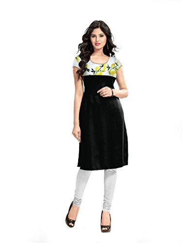 Kurti (Sai Fab Women\'s Cotton Printed Black Kurti) (Free & S Size)