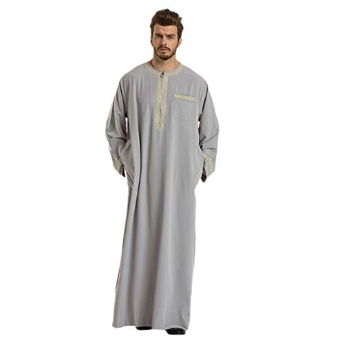 Musulman Homme Islam,Hommes Robes à Manches Courtes Ethnique Islamique Moyen-Orient Maxi Robe Kaftan Musulmane Abaya Muslim(Gris-2,Medium