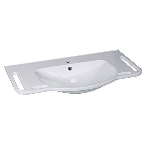GTM 1002 Senioren-Waschbecken   Weiß mit untergreifbarer seitlicher Griff-Kante & Überlauf-Schutz   unterfahrbar 1000x555 mm