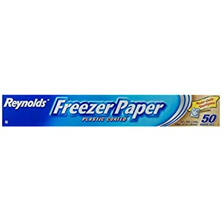 Reynolds Freezer Paper, Plastic Coated, 50 Sq Ft | IDEAL FOR WRAPPING MEAT AND PRODUCE IN THE FREEZER | Other Uses: Patchwork and Quilting, Machine Embroidery, Templates and Crafting