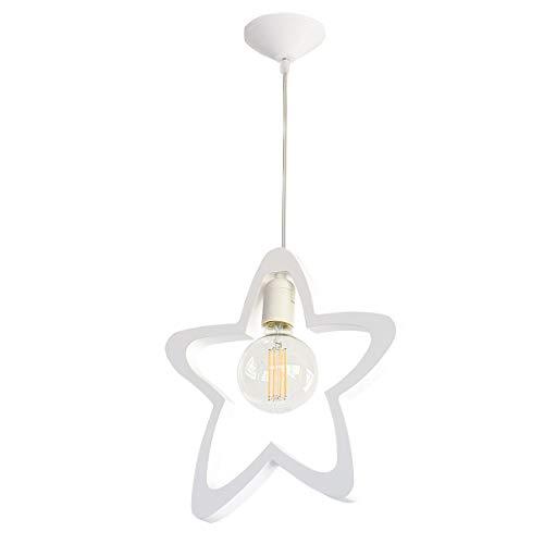 Bainba Lámpara Colgante, Diseño Estrellas E27, Blanco 42 x 27.5 cm