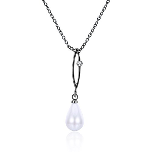 Thumby Mode Trend Halskette Perle Diamant, Weiße/Schwarze Pistole (Diamant-halskette Schwarz Weiß)