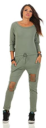 Mr.Shine Damen Langarm Hosenanzug Jumpsuit Damen Elegant Lang Hosen Trägerlos Overall S-XXXL (S, Armee Grün)