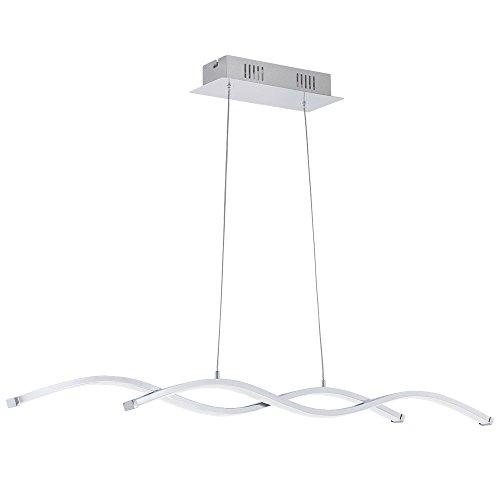 Luxus LED Pendel Lampe Wohn Ess Zimmer ALU Decken Beleuchtung Hänge Wellen Leuchte Chrom Eglo 96103