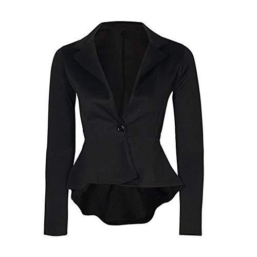 iHENGH Damen Herbst Winter Jacke Warm Bequem Mantel Lässig Mode Frauen Crop Frill Shift Slim Fit Schößchen Blazer(Schwarz,L) -