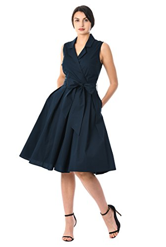 3f3ec5847449 eShakti Women s Notch collar poplin surplice dress UK Size 12   Regular  height Deep navy