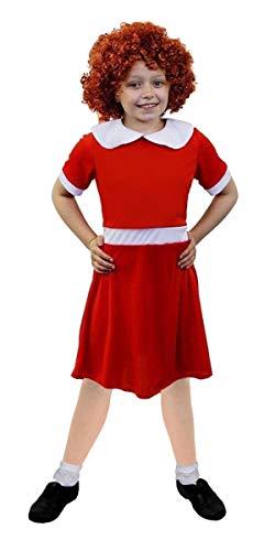 Annie Kostüm Musical - Mädchen LITTLE Orphan Girl Fancy Dress Kostüm rot Kleid mit Ginger Curly Afro Perücke Buch Woche Kostüm Musical Charakter