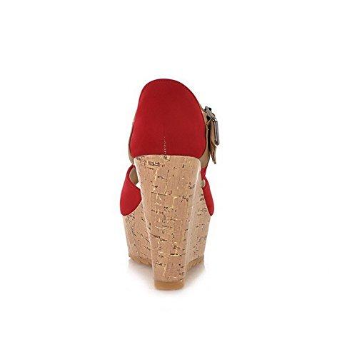 VogueZone009 Donna Punta Aperta Tacco Alto Plastica Colore Assortito Sandali Rosso