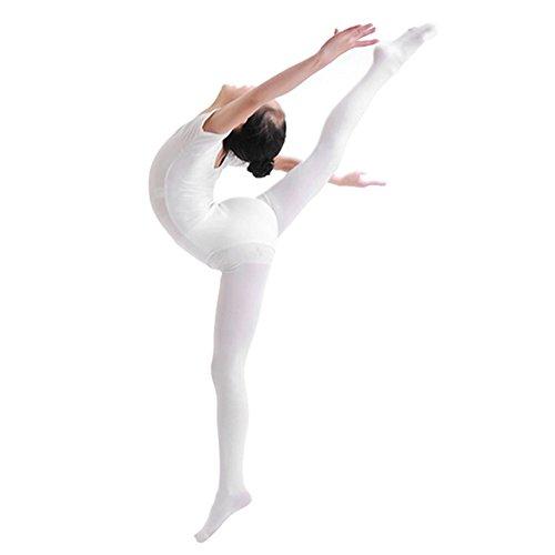 CHIC-CHIC Mädchen Strümpfe Overknee Überknie Kniestrümpfe Elastisch Strumpfhosen Pantyhose Feinstrumpfhose Microfaser (Weiß) (Undurchsichtige Strümpfe Nylon)