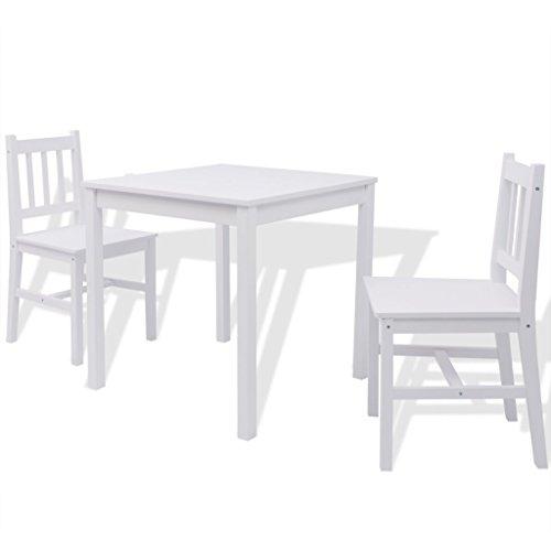 Festnight 3teilig-Set Essgruppe mit Esszimmertisch + 2 Essstühle Küchentisch Esszimmerstuhl Esstisch-Set aus Pinienholz Weiß (Küche Stühle-set Von Zwei)