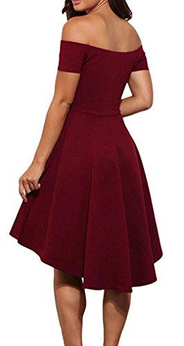 YOGLY Damen Kleid Elegant Schulterfrei A-Linie Knielang Kurzarm Vintage  Partykleid Cocktailkleid Abendkleid Sommerkleid Ballkleider ... f98da53bb0