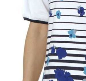 Damen Nachthemd von Normann, 95 cm lang, Rundhals, Streifen, Geblümt Blau
