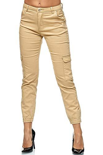 Elara Damen Slim Fit Cargo Hose | Denim Jeans | Jeans mit Seitentaschen | Chunkyrayan 1339-6 Beige 38