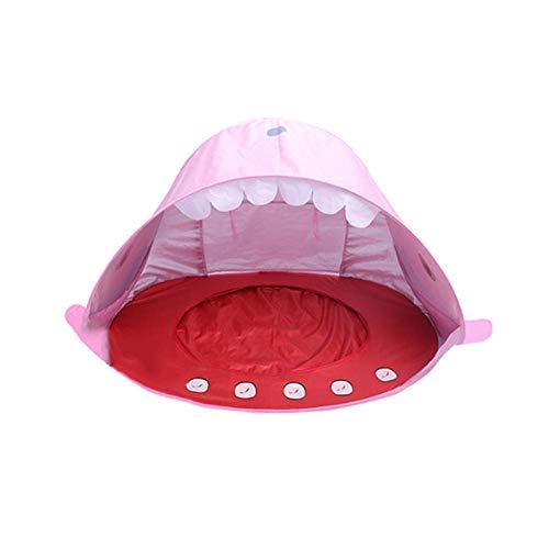 Bomoya 1 Stck Strand Zelt Tragbar, Sonne Schutz UV Schutz Schirm Shark für Baby Familie - Rosa - Strand Sonne Zelt