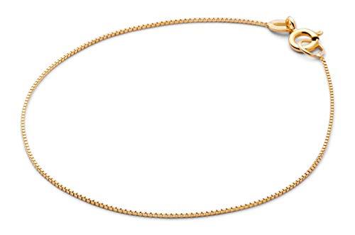 JUKSEREI Armband Damen Gold Petit Bracelet - Filigrane sehr zarte Armkette 925 Silber vergoldet Länge 17 cm - JUK-BCH130g (Dünne Armbänder Gold Armreifen)