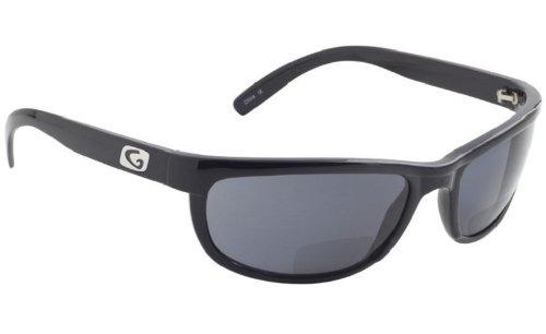 Richtlinie eyegear Hatteras Bifokal + 2,50Sonnenbrille, Schwarz glänzend Rahmen, deepwater grau Polarized Lens, Medium/Large