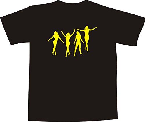 T-Shirt E210 Schönes T-Shirt mit farbigem Brustaufdruck - Logo / Grafik - minimalistisches Motiv - Tänzerin / Silhouette in verschiedenen Positionen Schwarz