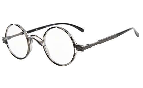 Eyekepper Runden Lesebrille ein wenig groß als Vintage Professor Oval Leser (Grau Streifen,+1.75)