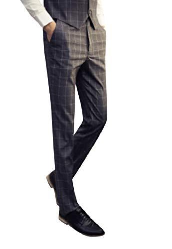 CuteRose Men British Style Business Classic Plaid Comfort Plain Front Pant AS2 XS -