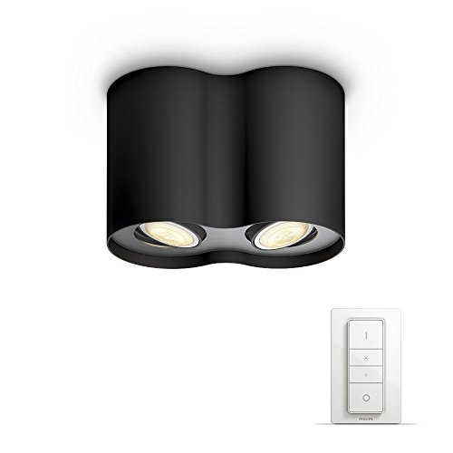Philips Hue White ambiance Pillar - Foco doble negro LED con mando,...
