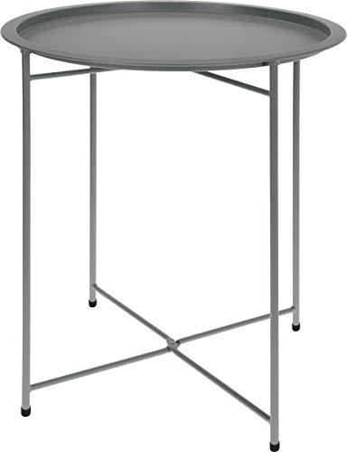 made2trade Beistelltisch, Nachttisch, Kaffetisch fürs Wohn- und Schlafzimmer aus Metall in Matt Grau - 52cm -