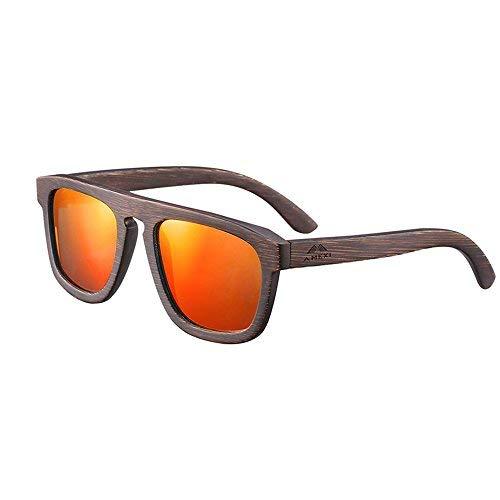 Amexi Holz Sonnenbrille mit Brillenetui aus Bambus TAC Objektiv UV400 UV-Schutz Fassung Sonnenbrille Bambusrahmen verschiedene Styles