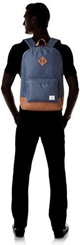 Herschel Heritage Rucksack, 46 cm, 21.5 L, Blue Navy/Tan Synthetic Leather Backpack