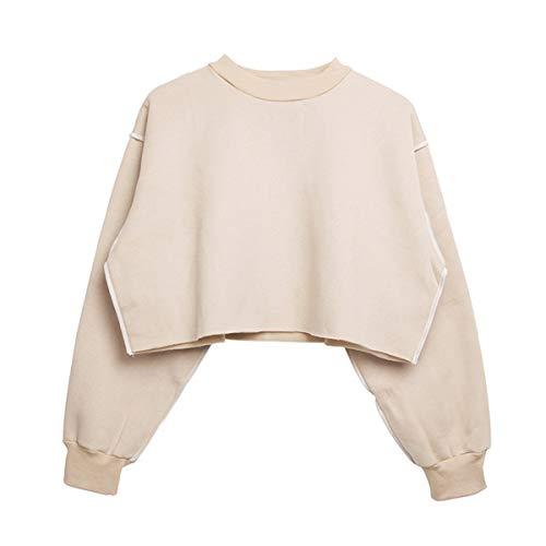 WTSGM Oansatz Fleece Hoodies Langarm Crop Top Frauen locker lässig Sweatshirt Fleece-cropped Pullover