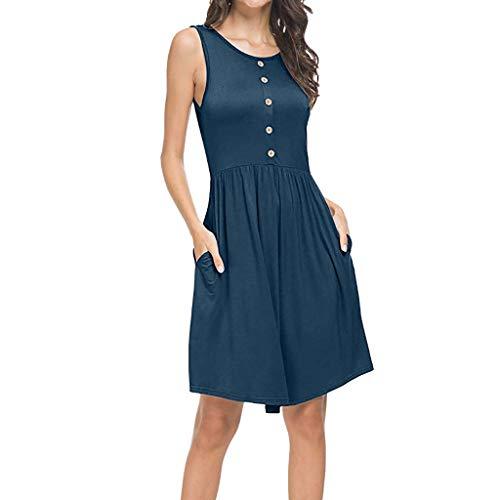 KUDICO Damen Kleid Sommer Ärmellos Rundhalsausschnitt Kurzes Kleid Lässig Lose Tunika Top Swing Strandkleid T-Shirt Kleid mit Taschen Minikleid(Marine, EU-44/CN-3XL)