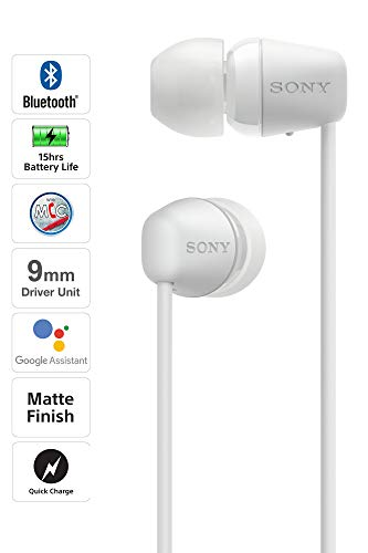 Sony WI-C200 Wireless Bluetooth in-Ear Headphones with Mic, 15 Hours Battery Life, Quick Cost, Magnetic Earbuds, Tangle Free Cord and with 1 Year Warranty - White Image 2