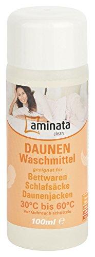 Aminata Clean - Daunenwaschmittel für Betten, Jacken, Schlafsäcke und mehr | 100 ml Füllung | flüssiges Waschmittel geeignet für Daunen und Federn | Reinigungsmittel Waschpulver Spezialwaschmittel