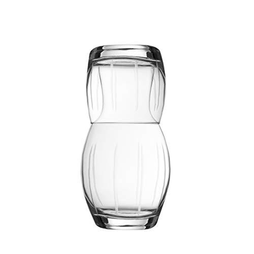 Fifth Avenue Crystal 229815-L2GB Medaillon Lines Nachttisch Wasserkaraffe mit Becher, edler Krug und passendes Trinkglas wirkt als Deckel für Gäste-Zimmer, Büro-Geschenk, 3,7 x 19,6