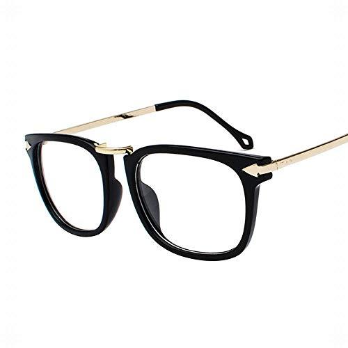 Gefälschter großer Rahmen der Frauen klare Nicht verschreibungspflichtige Brillen Modeklassiker. Brille (Farbe : Gold/Black)