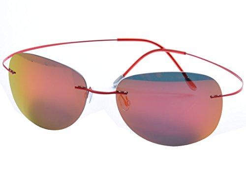 DEDING Herren Titan Randlose polarisierte Sonnenbrillen (rote Linsen)