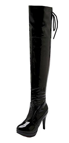 YE Damen Spitze Kniehoch Lack High Heels Stiefel Stiletto mit 10cm Absatz Glitzer Strass und Schnallen Boots